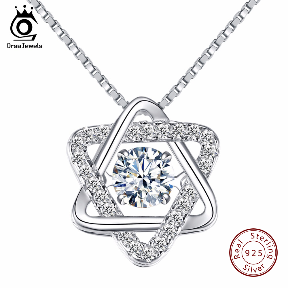 ORSA JEWELS Real 925 Silver Women Star Pedant Necklaces with Charming Movable CZ Fashion Fine Jewelry Christmas Gift SN51ORSA JEWELS Real 925 Silver Women Star Pedant Necklaces with Charming Movable CZ Fashion Fine Jewelry Christmas Gift SN51