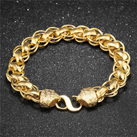 Gold Bangle Bracelet Men Luxury Gold Big Chain Bracelet with Charm Wristband Jewelry For Men Fathers Gifts Trendy Bracelet 2017