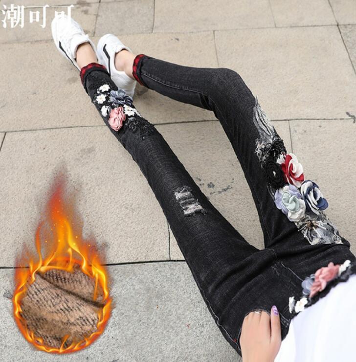 Mujer Agujeros Picture Ins Negros Para Negro plush Chicas 2018 Lápiz Invierno Nuevos Vaqueros Pantalones De As Otoño Warm Skinny Bordados Calientes U6qw8n5fz