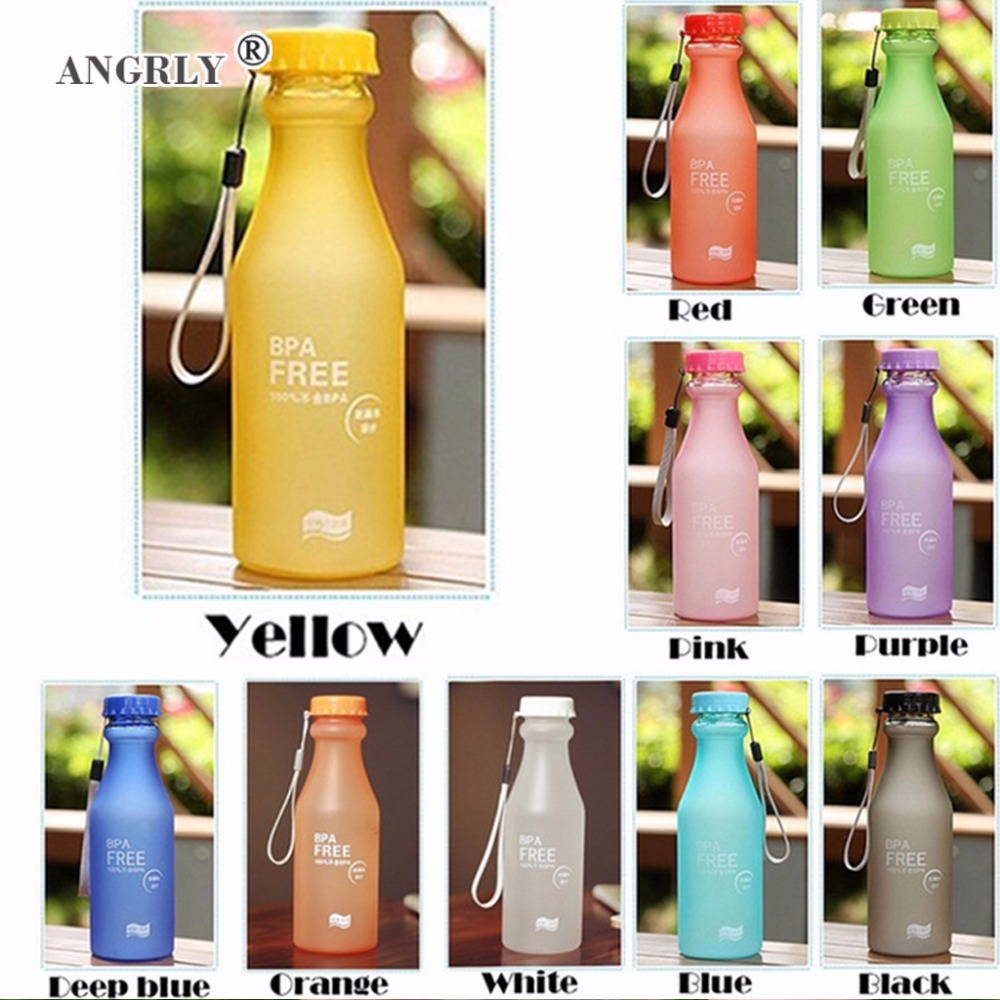 Portable Water Bottle 550mL High Quality Plastic Frosted Leak-proof for Outdoor Sports Running Camping Drinkware 1PCS/Lot