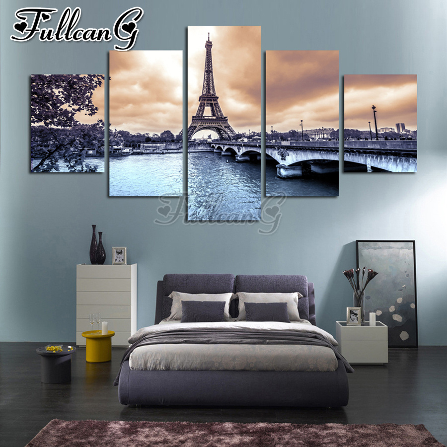 FULLCANG paris cityscape tower 5 piece diamond painting set full square/round drill diy mosaic embroidery sale scenery FC1543