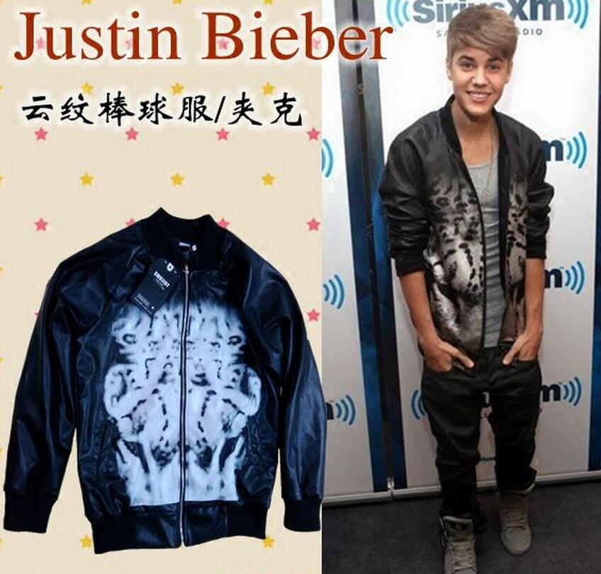 XS-3XL ! 2017 New men's clothing clothes Star Justin Bieber baseball uniform leather jacket coat plus size singer costumes