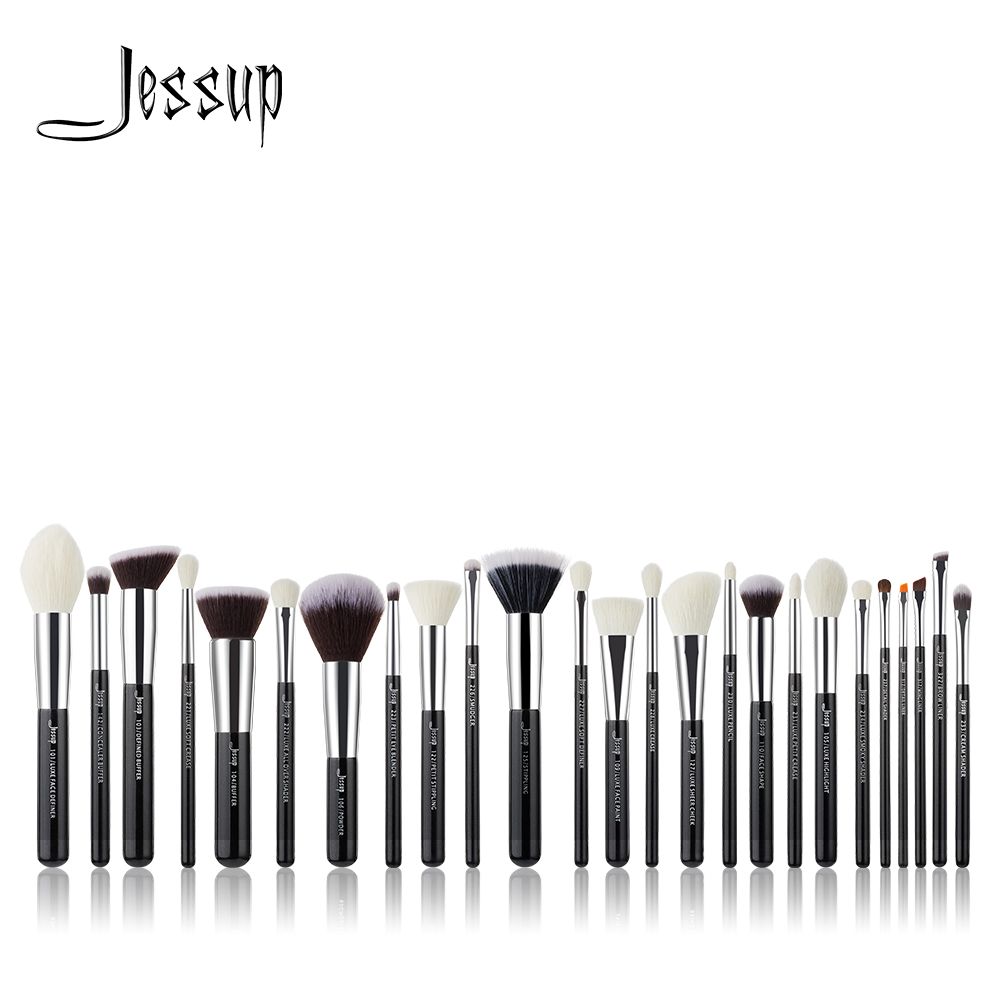Jessup 6pcs/8pcs/10pcs/15pcs/20pcs/25pcs Black/Silver Makeup brushes set Beauty Foundation Powder Eyeshadow Make up Brush Blush jessup brushes 10pcs rose gold black face makeup brushes set beauty cosmetic make up brush contour powder blush