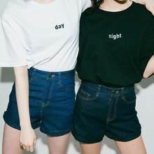 2018 mujeres nuevo verano mujeres día y noche bordado camiseta femenina  Camiseta de manga corta Pullover Tops 29fde05a1b9