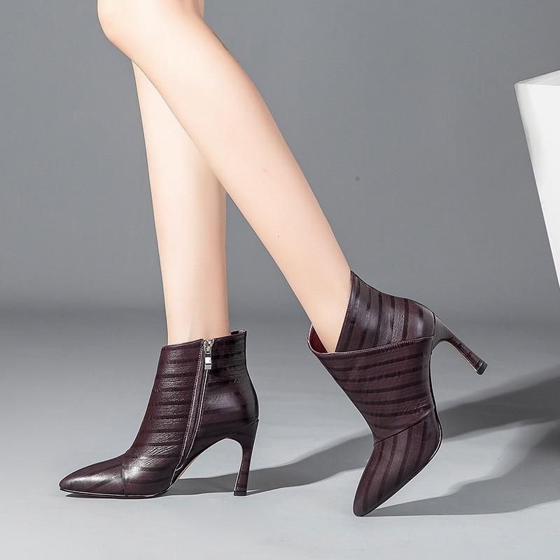 2018 Colores Tobillo Moda Nueva Tres Mujer Zvq Delgados Punta Sexy Apricot black Alta Invierno Tacones Super purple Zapatos Trabajo Botas Cremallera Rayas De Caliente qYRaI