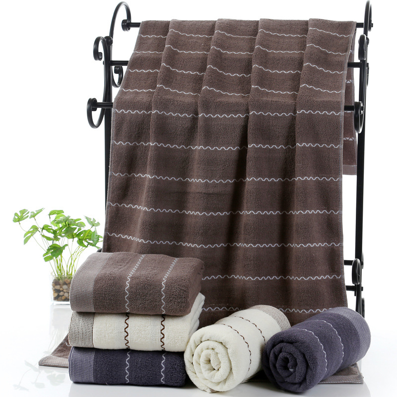 2017 new 70x140cm striped bath towel set for men and women for Mens bath set