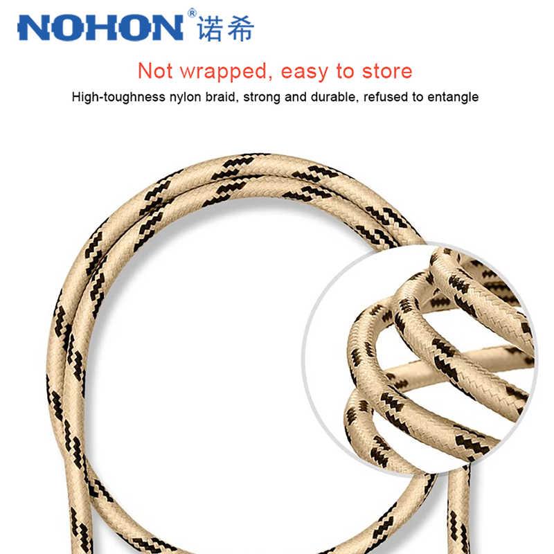 Nohon Nylon Micro USB Charge Sync Cable untuk Samsung Galaxy S7 S6 untuk Huawei untuk Xiaomi Redmi 4X 4A Android telepon Cepat Kabel 2 M