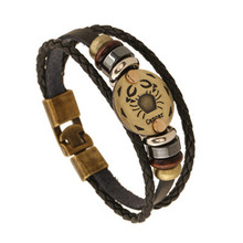 Fashion Bronze Buckles 12 Constellation Cancer Bracelet Punk Leather Bracelets Wooden Bead Jewelry For Men Women Charm B09