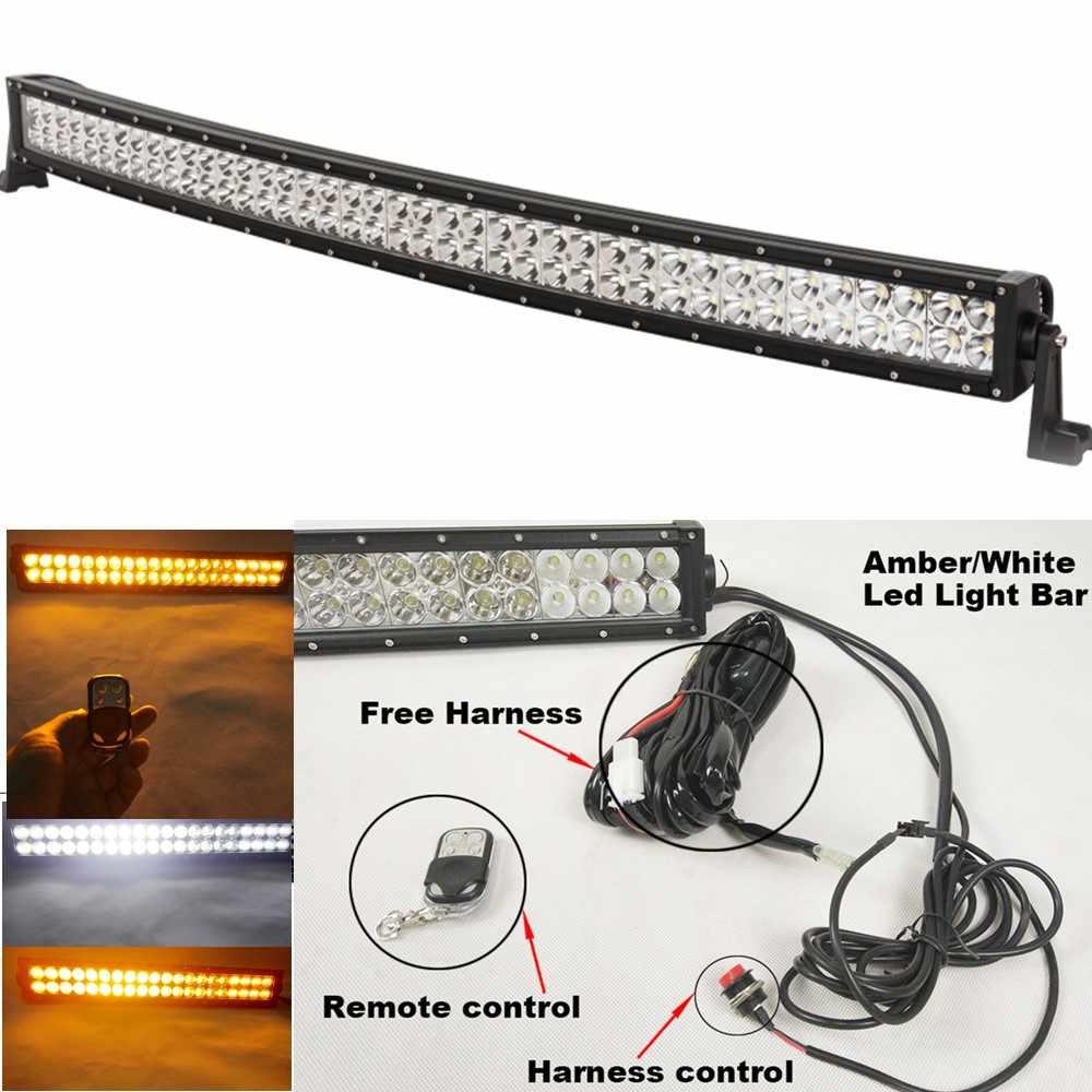 240w Led Light Bar Curved 40 42 Inch 12v Offroad Flashing White Amber Light Bar 24 Modes Emergency Vehicle Strobe Lights