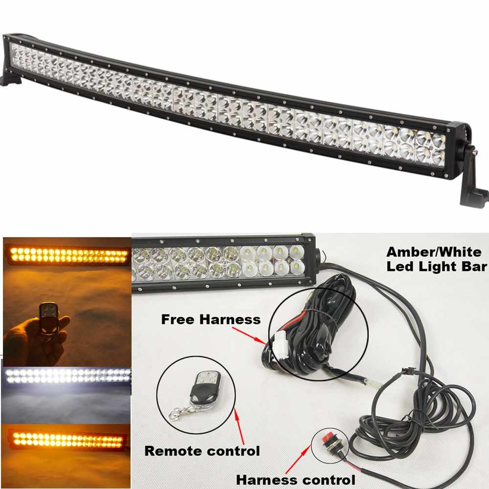 medium resolution of 240w led light bar curved 40 42 inch 12v offroad flashing white amber light bar 24