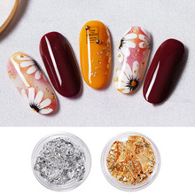 Gold Silver Foil Tin Flake for Nail Art Sticker Decal Decoration Glitter