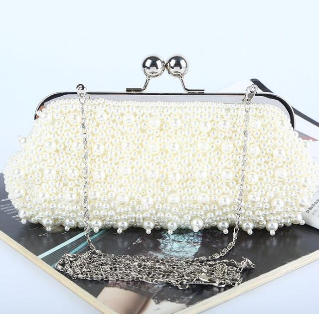 New Ivory Pearl Chain Shoulder Bags Day Clutches Fasiong Wedding Evening Party