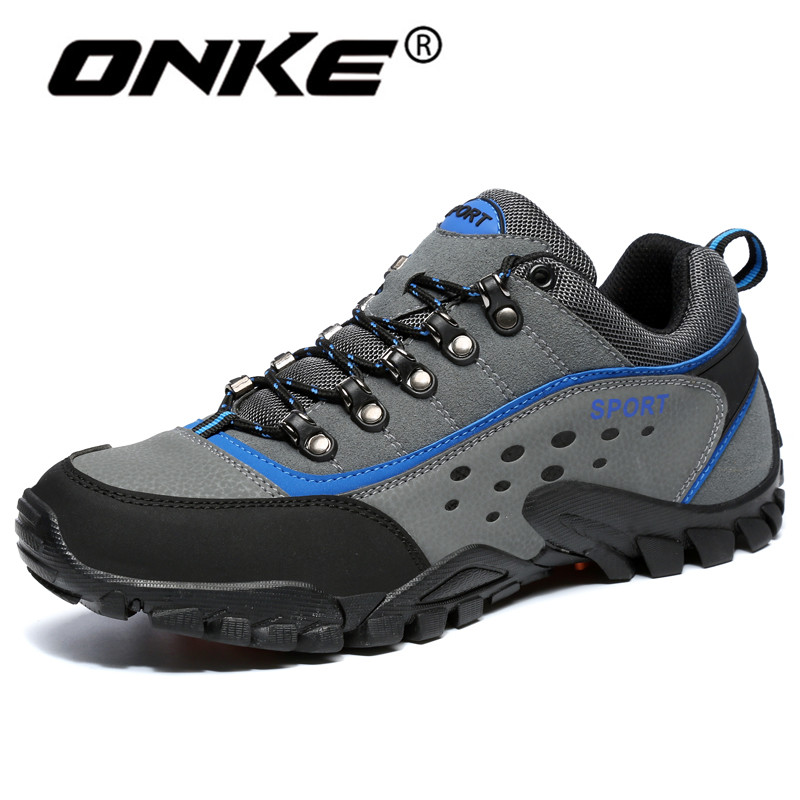Onke Men's Sneakers Large Breathable Hiking Shoes for Man Mountain Climbing Sport Shoes Male Outdoor Trekking Sneaker 39-45 famous brand men s leather outdoor trekking hiking shoes sneakers for men sports climbing mountain shoes sneaker man senderismo