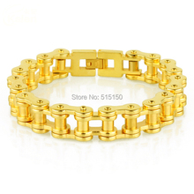 8.86″ 12mm High Quality18K Gold Tone Punk Stainless Steel Bracelet Mens Biker Bicycle Motorcycle Chain Bracelets Jewelry