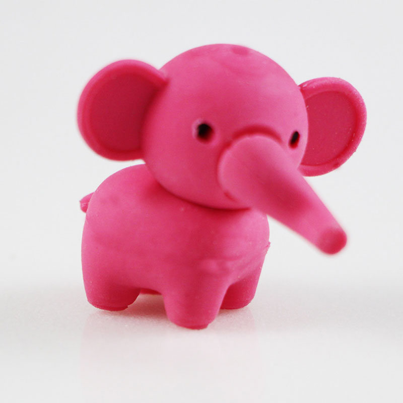 1pcs Cute Cartoon Lovely Elephant Eraser Children Learning Stationery Gift Prizes  Kawaii School Supplies Papelaria