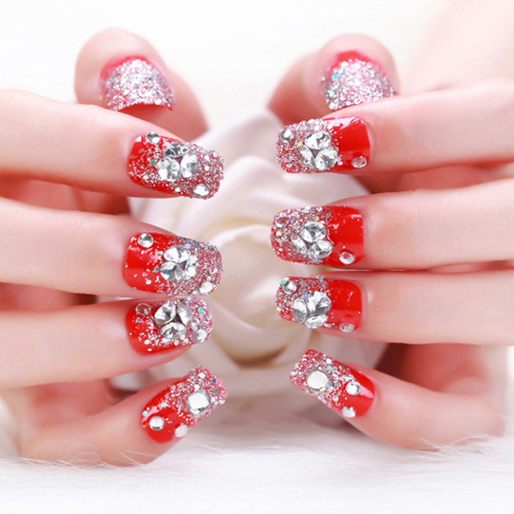 Fashion 24 pcs/ Boxed Bride Fake Nails Diamond Butterfly Bride ...