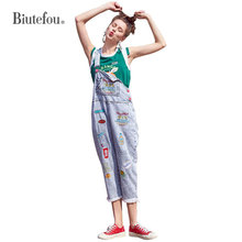 2019 Summer denim Jumpsuits embroidery patch designs Overalls women sleeveless Rompers