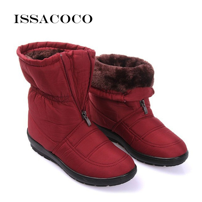 ISSACOCO 2018 Snow Boots Brand Women Winter Boots Women Fashion Casual Boots Snow Shoes For Ladies Antiskid Waterproof Flexible