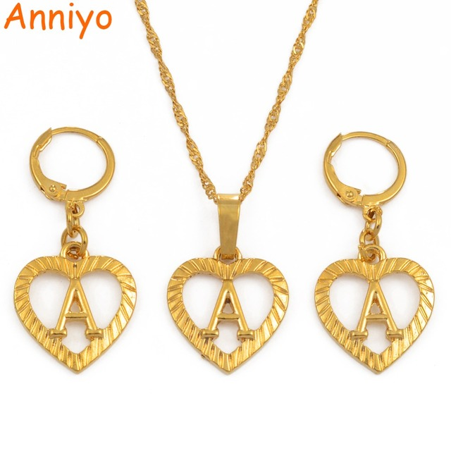 Anniyo A-Z Gold Color Heart Letters Necklace  Initial for Women/Girls,Alphabet Pendant English Letter Jewelry #101206S