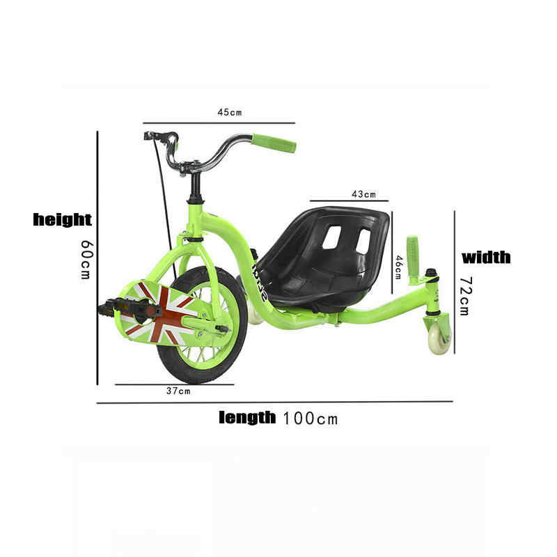 Chain Pedal Drift Car, Teens Drift Trike with 15inch Big Wheel, Steel Frame  Tricycle Drift Car With Hand Brake
