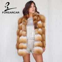 FURSARCAR 2018 Thick Natural Gold Fox Fur Vest Women Winter Warm Genuine Fox Fur Gilet 60 CM Long Waistcoat With Fur Collar