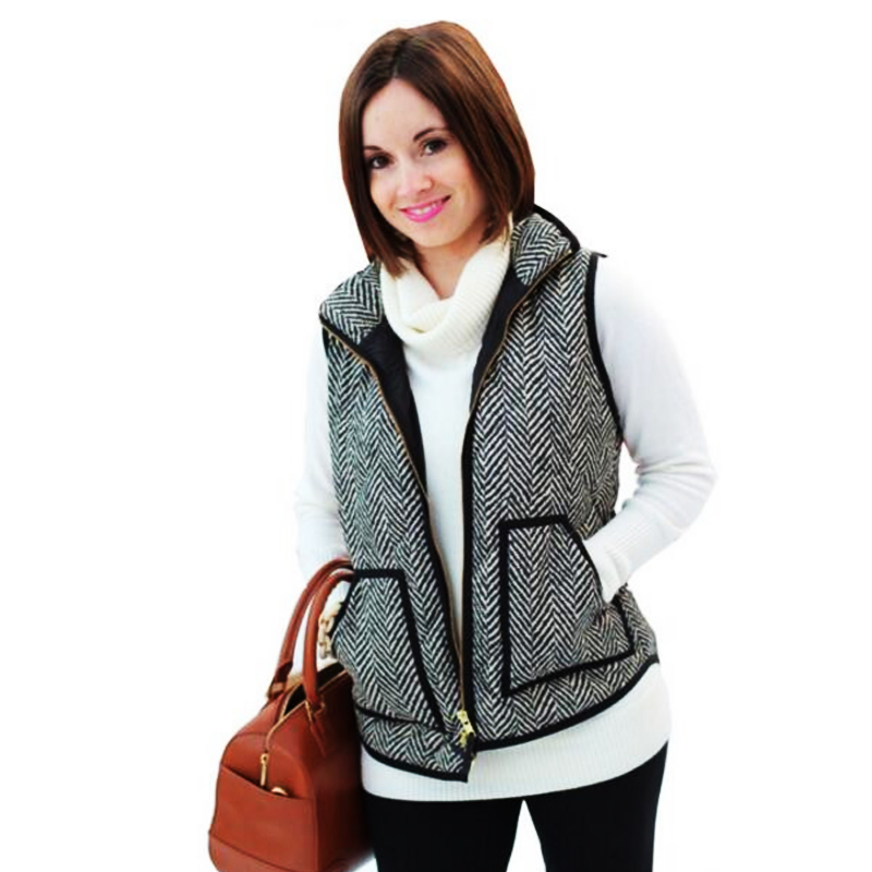 Big Pocket Autumn Winter Sleeveless Women Cotton Casual Ladies Jackets Black Denim Herringbone Vest Quilted Cotton Puffer Vest