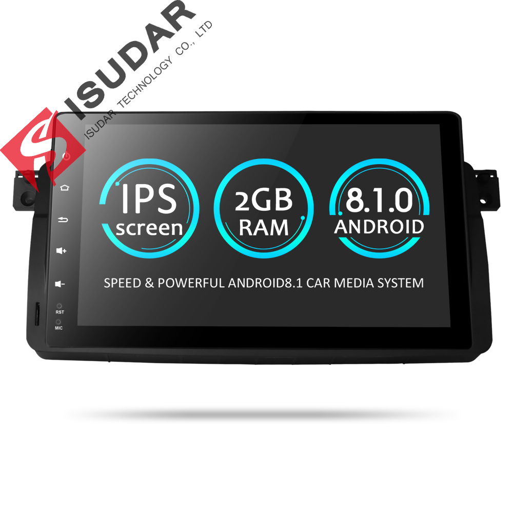 Isudar Voiture lecteur multimédia De Voiture GPS Automotivo Un Din Android 8.1 Pour BMW/E46/M3/MG/ZT /Rover 75 Radio FM Quad Core RAM 2 GB SPG
