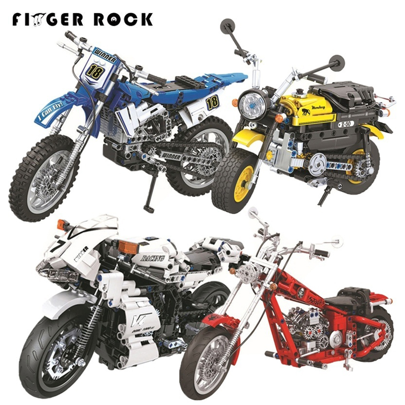 Finger Rock Technic Motorcycle Building Blocks Set Assembly DIY Bricks Classic Racing Motorcycle Model Educational Blocks