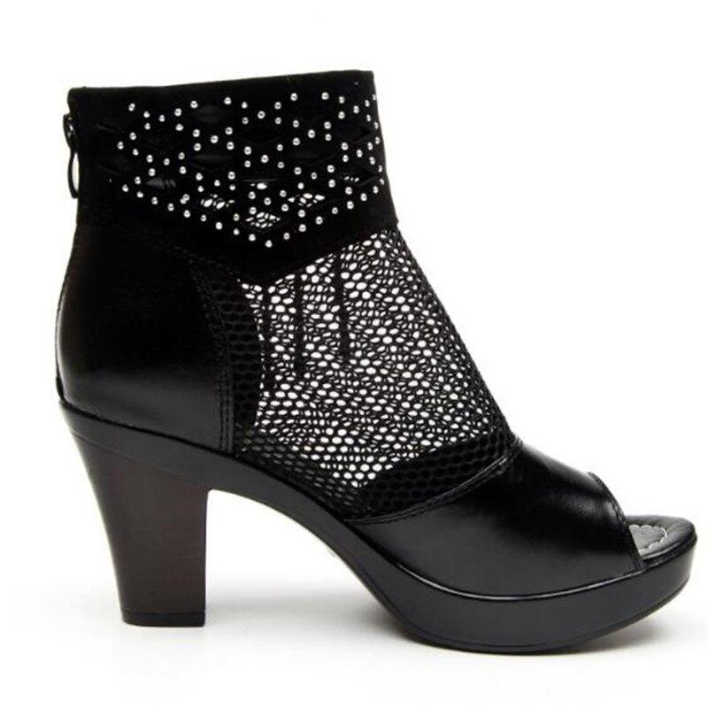 Talons À Célèbre Maille Chaussures Poisson 003 black Sandales Black Femmes De Bottines 2018 Vachette Hauts D'été Tête Mode black Sexy 002 001 7wYdq7O