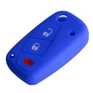 Image 5 - Okeytech capa de chave de carro, capa colorida de silicone para fiat 500 panda stilo punto doblo grande bravoducato