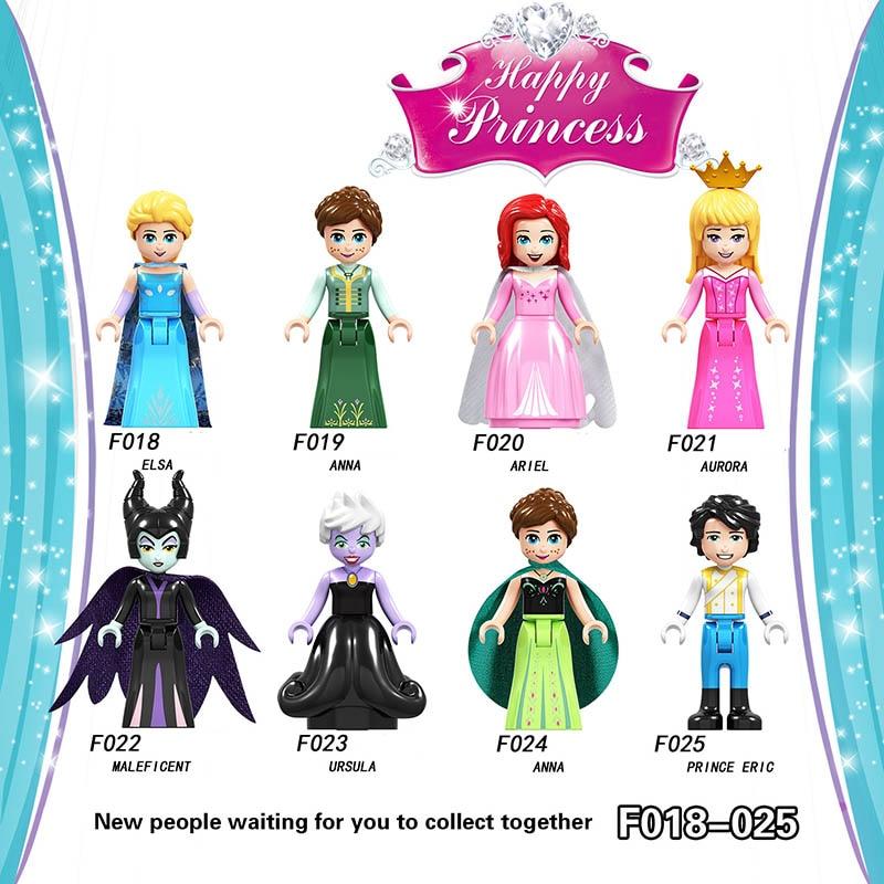 Single Sale LegoINGlys Princess Elsa Anna Ariel  Aurora Maleficent Ursula Anna Primce Eric Bricks Minifigure Children Gift Toys