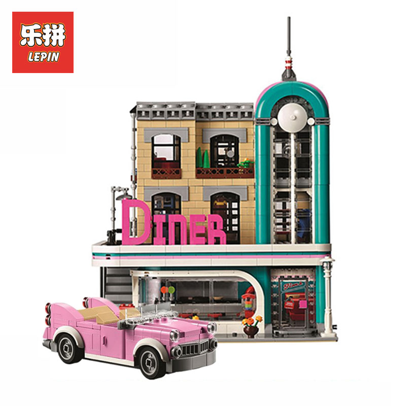 LEPIN 15037 Creative Street Series nostalgic restaurant Model Building Blocks Bricks toys for Children gifts LegoINGlys 10260 new 10002 street creative series naruto of green grocery send board one piece ship box for toys