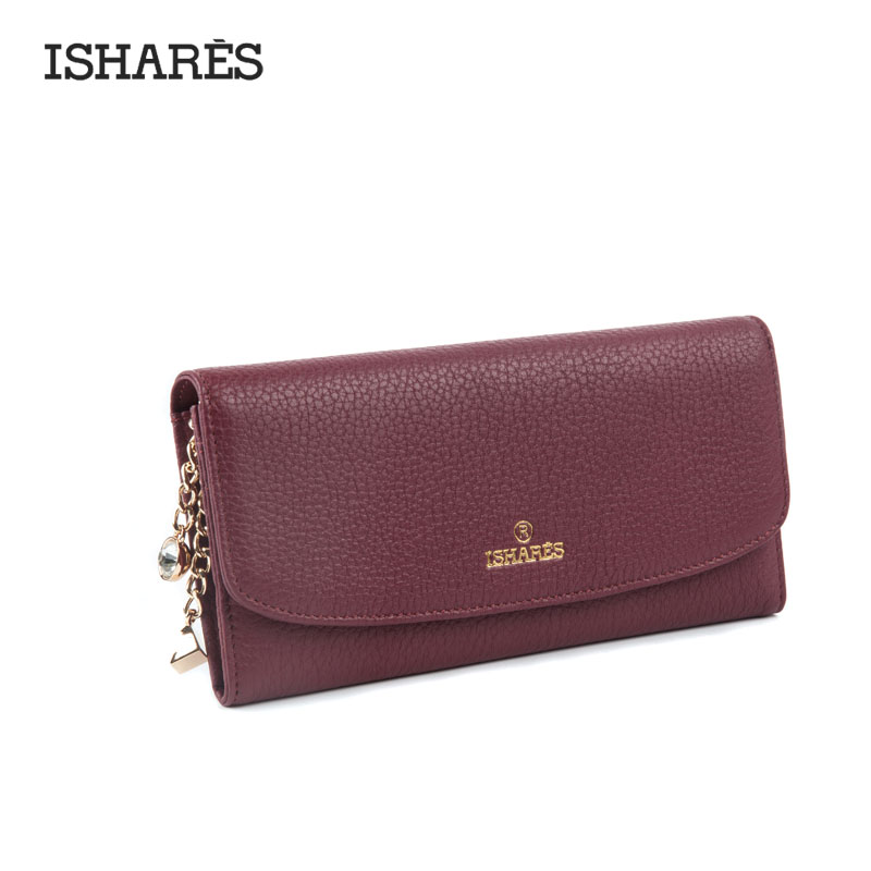 Купить с кэшбэком ISHARES Genuine Leather Solid Hasp Purse With Drill Fashion High Quanlity Calf Leather Long Wallets Women Cow Leather Wallets