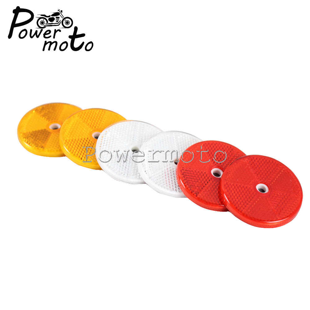 1 Pair Motorcycle Yellow Red White 6CM Round Reflector Safety Warning  Sticker Stick On Reflective Plate Universal For ATV Bikes