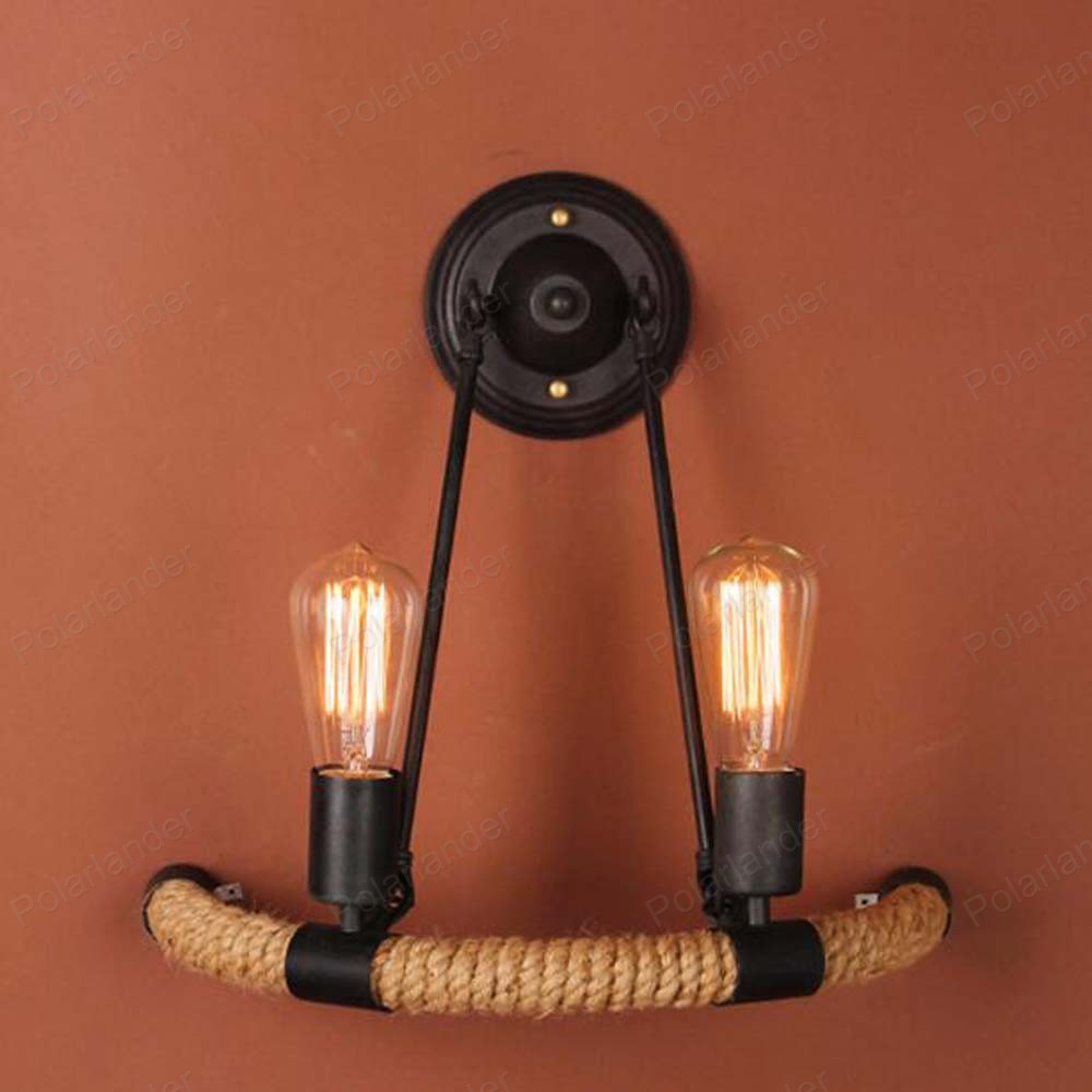 ФОТО 2017 new hot-sell American style hemp rope lamp balcony staircase lamp antique wrought personal lamp
