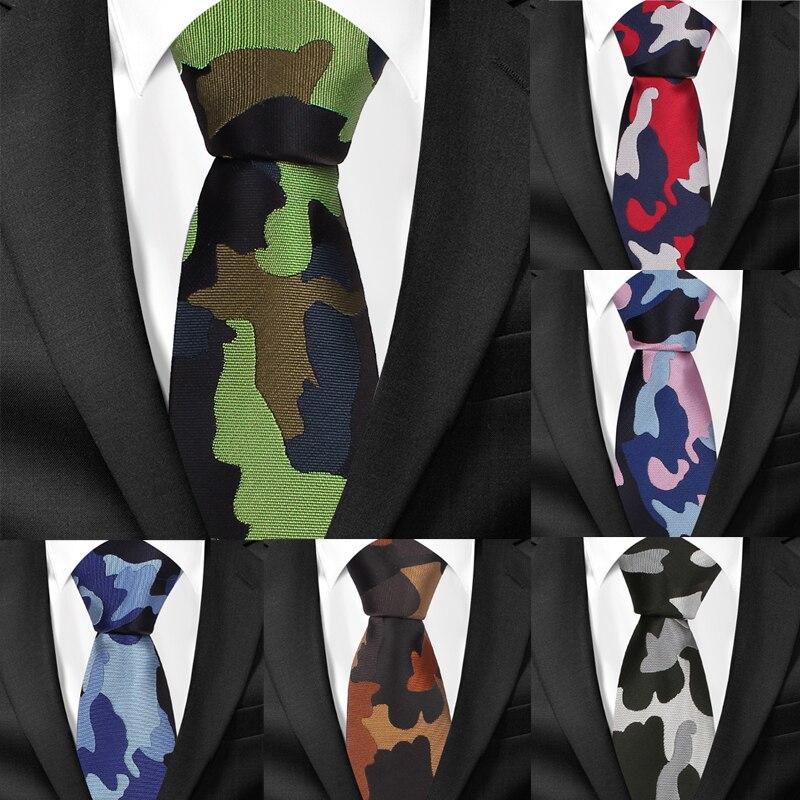 Fashion Camouflage Neck Ties For Men Casual Slim Tie Gravatas Skinny Mens Neckties For Party Classic Jacquard Men Ties Gravatas