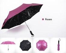 Automatique Parapluie pluie femmes Entièrement automatique Parapluie Anti UV Parasol Ultral-Lumière 3 Pliage Parapluie Pour Voyage Meteor douches