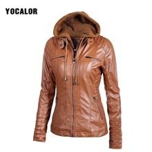 2017 Autumn Zipper Leather Hooded Basic Oversized Jacket Women Loose Casaco Feminino Coat Bolero Outerwear Veste Motorcycle Hood