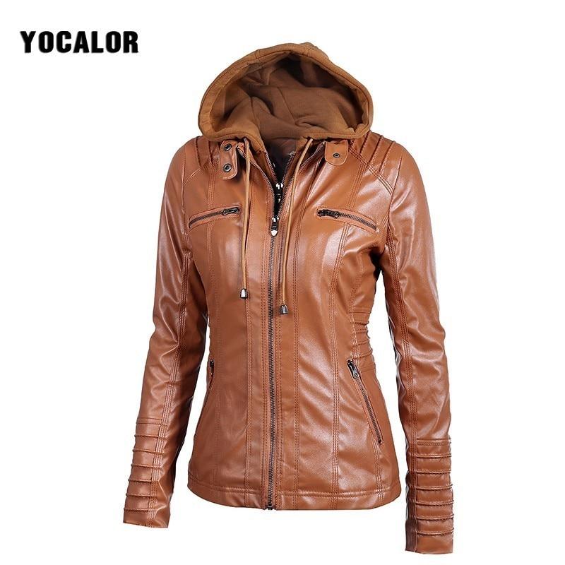 2017 Autumn Zipper <font><b>Leather</b></font> Hooded Basic Oversized Jacket Women Loose Casaco Feminino Coat Bolero Outerwear Veste Motorcycle Hood