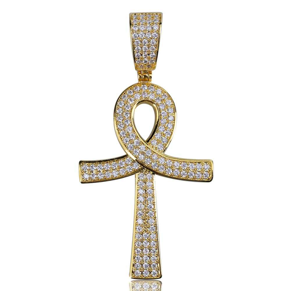 TOPGRILLZ Hip Hop Key Cross Pendant Copper Gold/Silver Color Plated Iced Out Micro Paved AAA CZ Necklace Men Women Jewelry Gifts