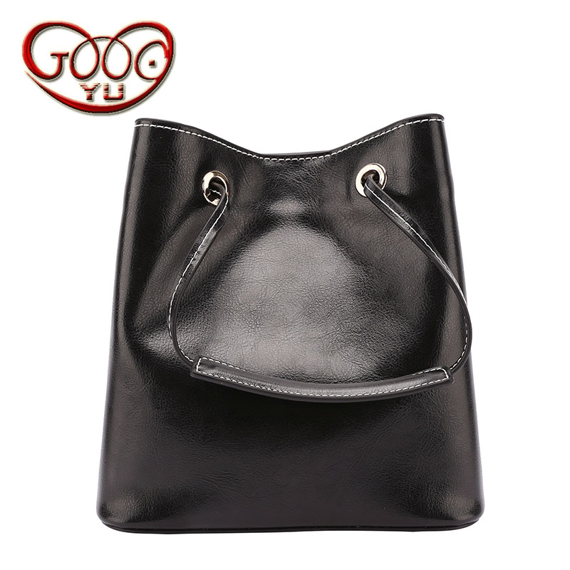 Young and simple retro style cow leather two-story handbag shoulder bag heavy hand shoulder slung bag