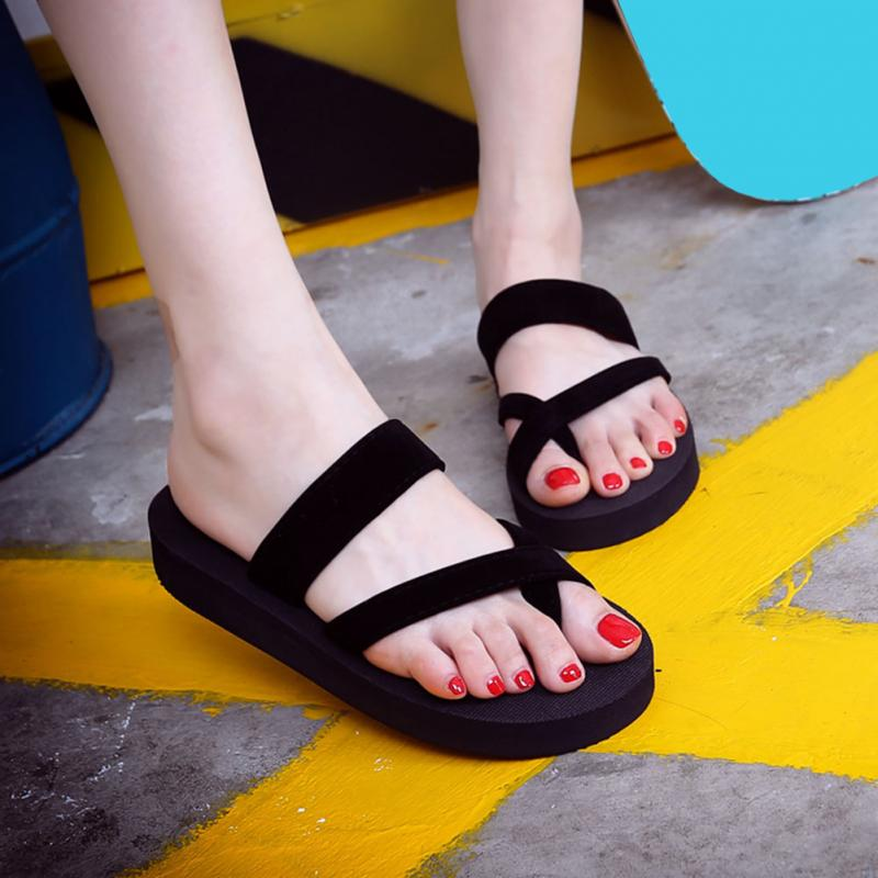 2018 New Women Summer Non-slip Platform Shoes Wedges High Heel Woman Outdoor Beach Slippers Sandals sapato feminino
