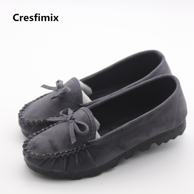 Cresfimix women cute flock grey flat shoes lady casual bow tie round toe flats female leisure soft summer shoes zapatos de mujer cresfimix sapatos femininos women casual soft pu leather pointed toe flat shoes lady cute summer slip on flats soft cool shoes