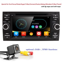 Wholesale! 2Din 7Inch Car DVD Player For Ford/Focus/Mondeo/Transit/C MAX/Fiest GPS Navigation Radio BT 1080P FM/AM Map DAB+ TPMS