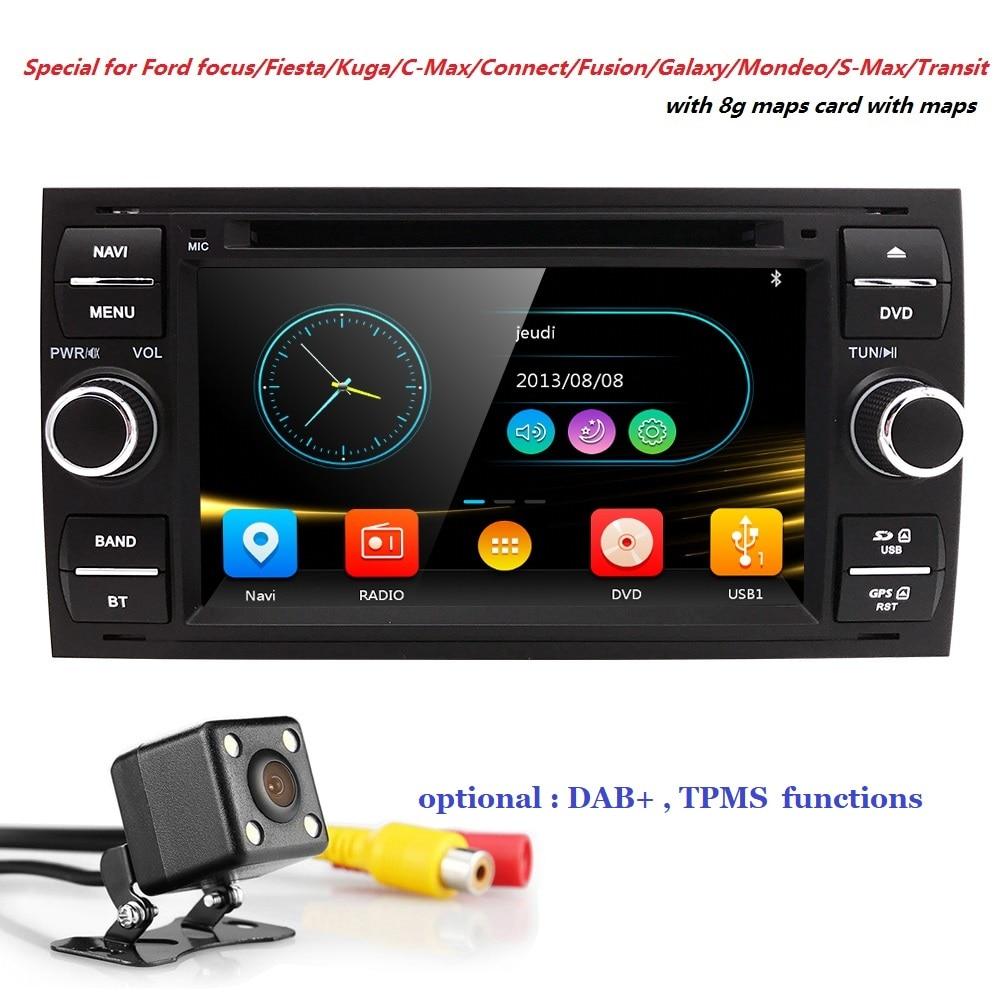 En gros! 2Din 7 Pouces Lecteur DVD de Voiture Pour Ford/Focus/Mondeo/Transit/C-MAX/Fiest GPS Navigation radio BT 1080 p FM/AM Carte DAB + TPMS