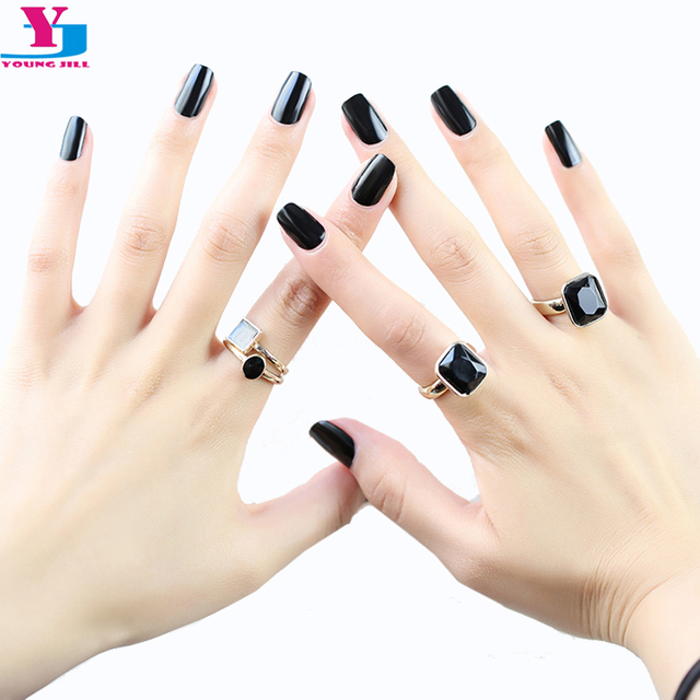 High Quality 16Tips Real Nail Varnish Nail Patch Toe Art Stickers Pure  Black Color UV Gel