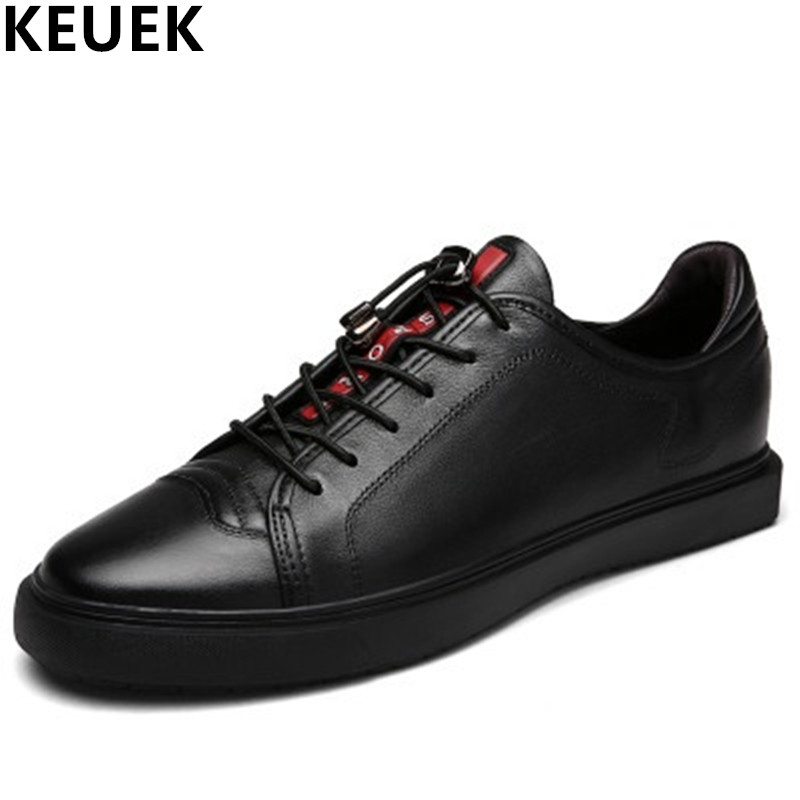 New arrival Spring Men Casual shoes Genuine leather Breathable Lace-Up Loafers Large size Male Sneakers Black White Flats 061 men s leather shoes new arrival lace up breathable vintage style casual shoes for male footwears zapatos size 38 44 8151m