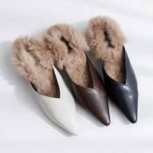 MLJUESE 2019 luxury women slippers Rabbit hair pointed toe outside fur winter warm wool slippers black color size 33-40(China)