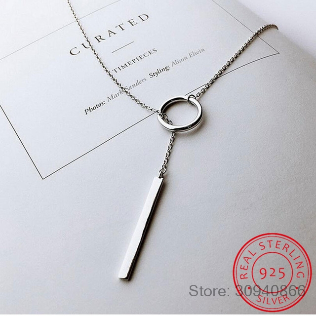 New Arrivals 925 Sterling Silver Long Circle Necklaces & Pendants For Women Fashion Sterling-silver-jewelry
