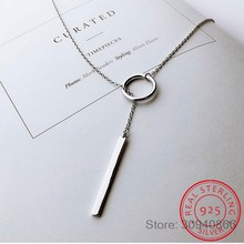 New Arrivals 925 Sterling Silver Long Circle Necklaces & Pendants For Women Fashion sterling-silver-jewelry(China)